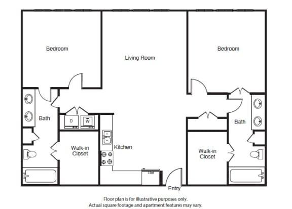 Floor Plan  2 Bed 2 Bath B3 Floor Plan at Windsor West Lemmon, Dallas