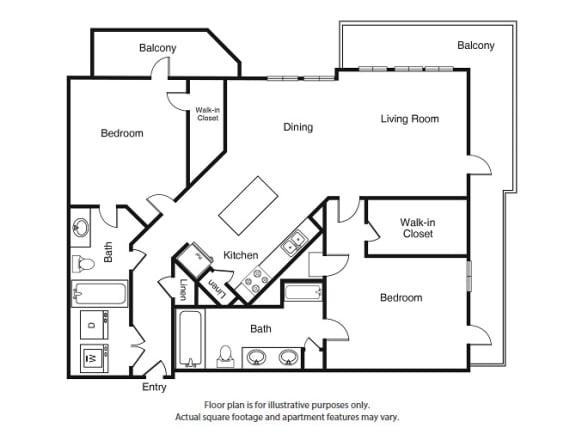Floor Plan  2 Bed 2 Bath B5 Floor Plan at Windsor West Lemmon, Dallas, TX