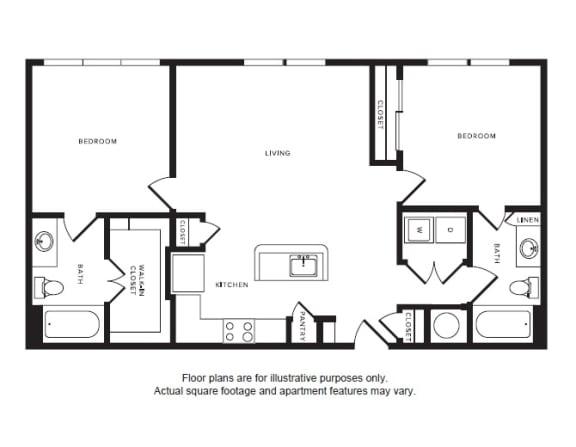 Floor Plan  B1 floor plan at Windsor Shepherd, TX, 77007