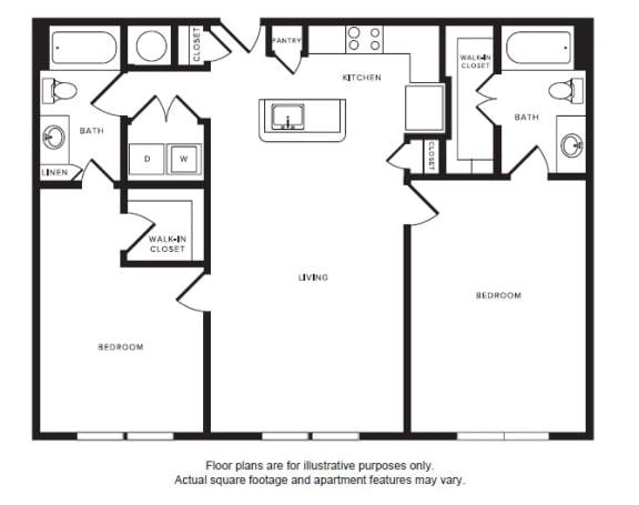 Floor Plan  B3 floor plan at Windsor Shepherd, 611 Shepherd Dr, 77007