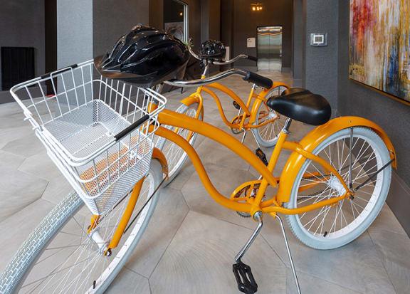 Bikes with helmets at Windsor Shepherd, Houston, TX