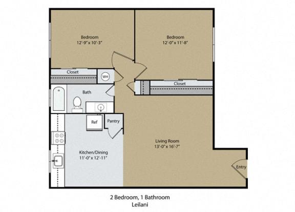 Leilani Floor Plan at Reef Apartments, Fresno, CA, 93704