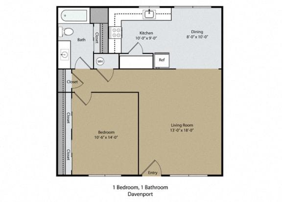 Davenport Floor Plan at Scottsmen Too Apartments, Clovis, California