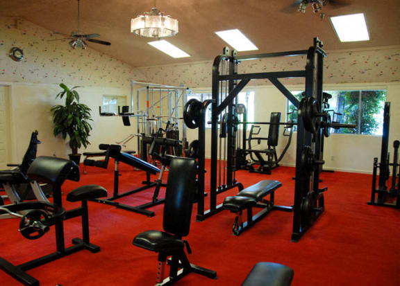 Fitness Center Strength and Conditioning Equipment at Scottsmen Too Apartments, Clovis
