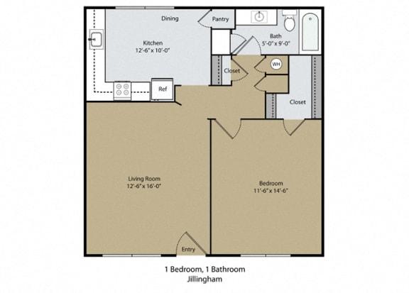 Jillingham Floor Plan at Scottsmen Too Apartments, Clovis, 93612