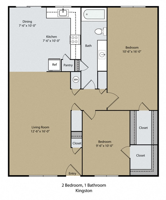 Kingston Floor Plan at Scottsmen Too Apartments, California, 93612