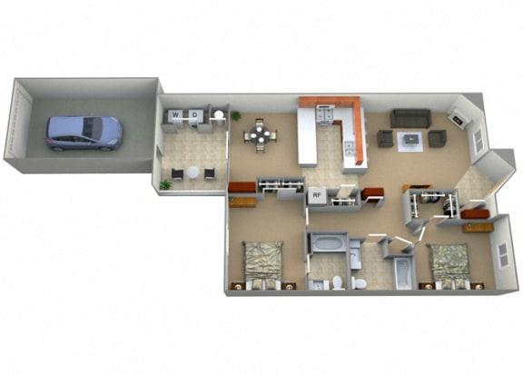Geraldine Floor Plan at Villa Faria Apartments, Fresno, CA, 93720