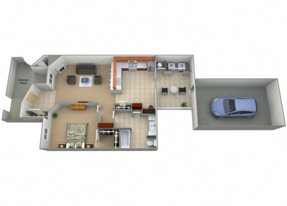 Jornada Floor Plan at Villa Faria Apartments, California, 93720