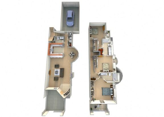 Torrada Floor Plan at Villa Faria Apartments, Fresno, CA