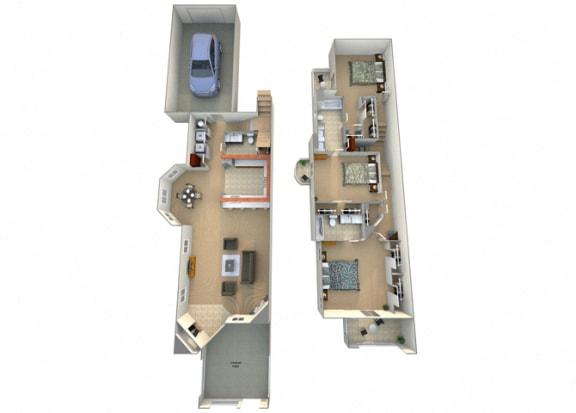 Trevo Floor Plan at Villa Faria Apartments, Fresno, 93720
