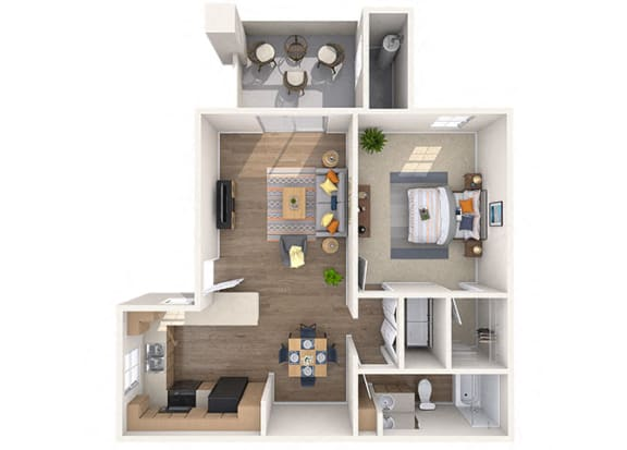 Floor Plan  Magnolia 1 bed/1 Bath