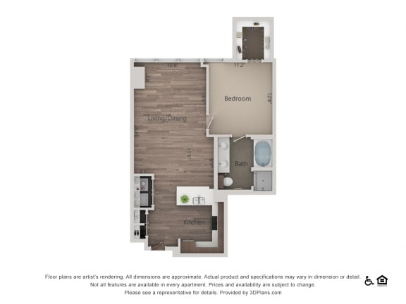 1Bed 1Bath 1L Floorplan at Northshore Austin, Austin, Texas