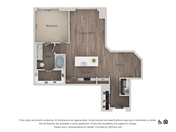 1Bed 1Bath 1Q Floorplan at Northshore Austin, Texas, 78701