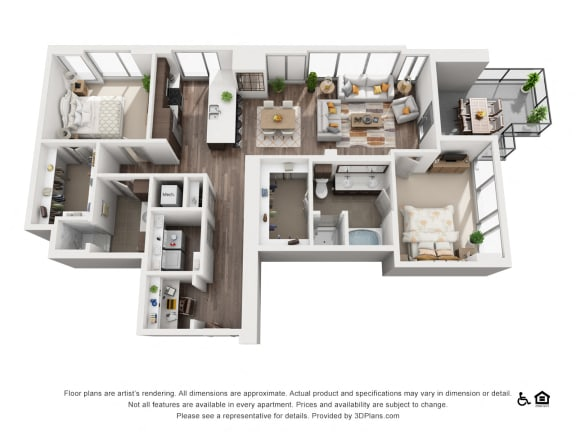 2 Bed 2 Bath 2F Floor Plan at Northshore Austin, Austin, TX