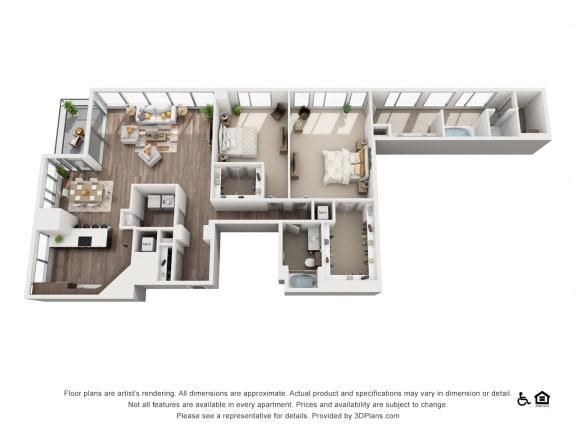 2 Bed 2 Bath 2L Floor Plan at Northshore Austin, Texas