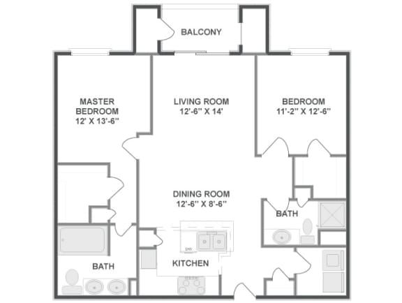 Floor plan at The Mil Ton Luxury Apartments, Vernon Hills, 60061