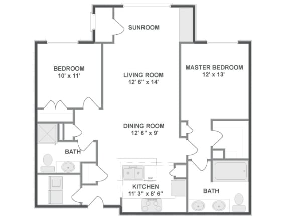Floor plan at The Mil Ton Luxury Apartments, Vernon Hills, Illinois