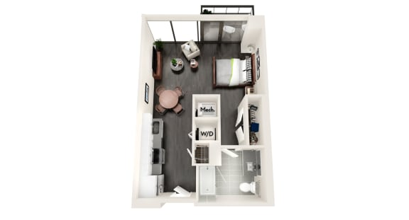 AZA1a EXECUTIVE ONE BEDROOM Floor Plan at Azure on The Park, Georgia, 30309