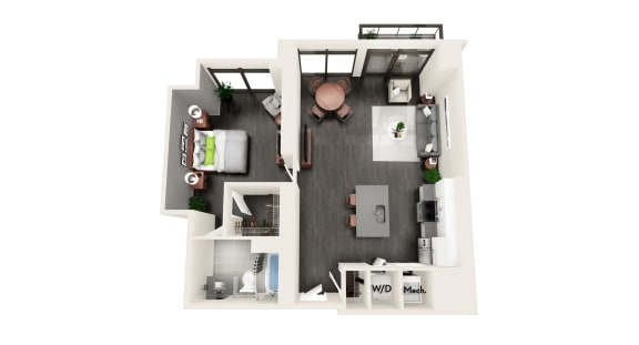AZB10 1 BEDROOM/1 BATH LARGE Floor Plan at Azure on The Park, Atlanta, 30309