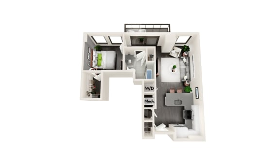 AZB7 1 BEDROOM/1 BATH Floor Plan at Azure on The Park, Atlanta, 30309