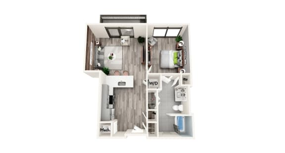 AZB9a 1 BEDROOM/1 BATH Floor Plan at Azure on The Park, Atlanta