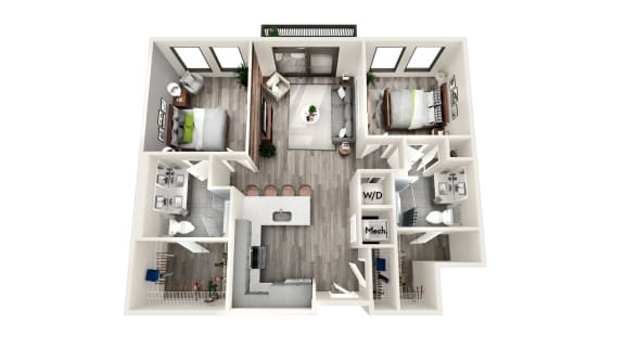 AZC3 2 BEDROOM/2 BATH Floor Plan at Azure on The Park, Atlanta, 30309
