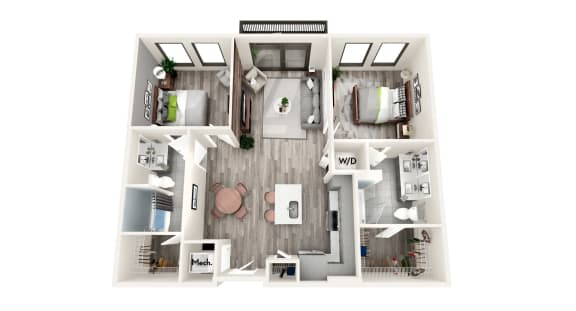 AZC4 2 BEDROOM/2 BATH Floor Plan at Azure on The Park, Atlanta, GA