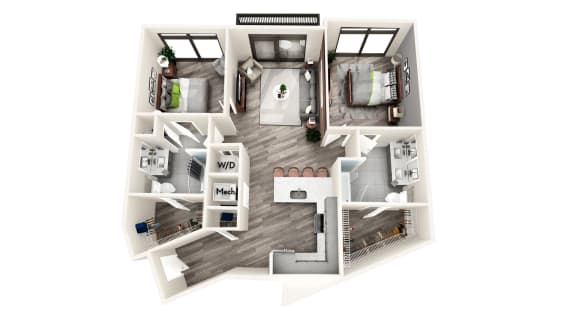 AZC5 2 BEDROOM/2 BATH Floor Plan at Azure on The Park, Atlanta, GA, 30309