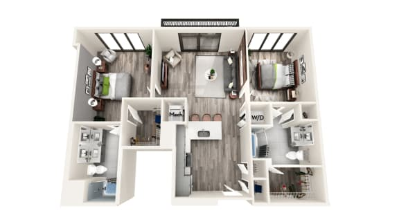 AZC7a 2 BEDROOM/2 BATH Floor Plan at Azure on The Park, Atlanta