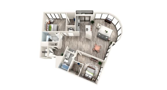 AZC9 2 BEDROOM/2 BATH Floor Plan at Azure on The Park, Atlanta, 30309