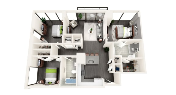 AZD1 3 BEDROOM/2 BATH Floor Plan at Azure on The Park, Atlanta, GA