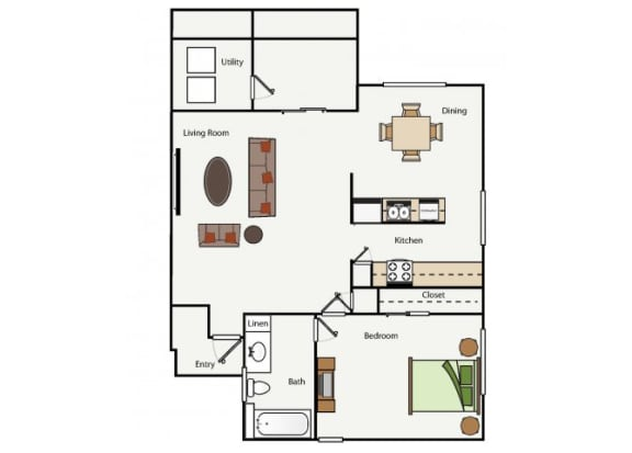 Floor Plan  One Bedroom One Bathroom floor plan