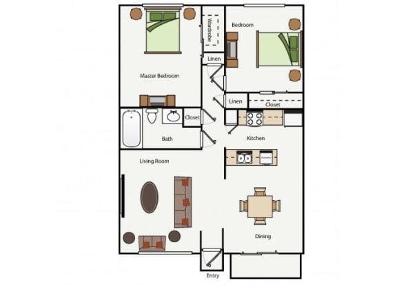 Floor Plan  Two Bedroom One Bathroom