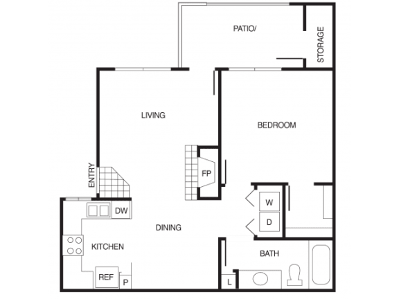 Floor Plan  A1 1 Bed 1 Bath Floor Plan at Country Brook Apartments, Chandler, 85226