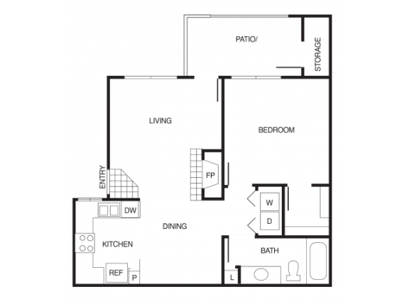 A2 1 Bed 1 Bath Floor Plan at Country Brook Apartments, Arizona, 85226
