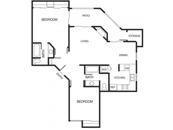 B3 2 Bed 2 Bath Floor Plan at Country Brook Apartments, Chandler, Arizona