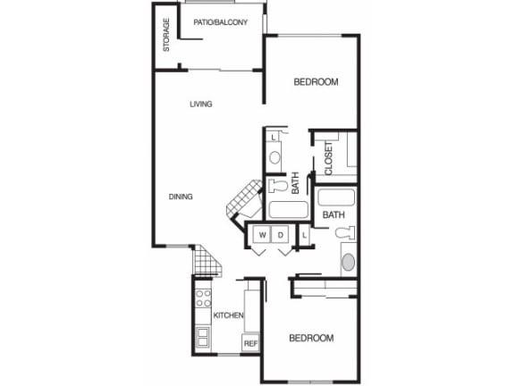 B2 2 Bed 2 Bath Floor Plan at Country Brook Apartments, Chandler, AZ