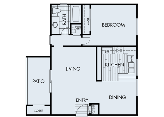 Floor Plan  1 Bed 1 Bath 1A Floor Plan at Corte Bella, Fountain Valley, California