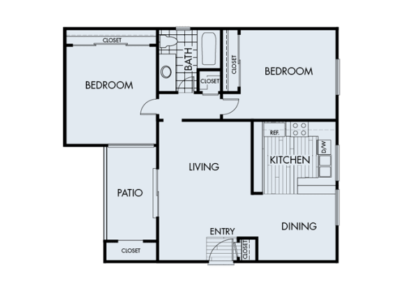 2 Bed 1 Bath 2A Floor Plan at Corte Bella, Fountain Valley