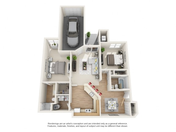 Cypress Floor Plan 2 bed 2 bath Owings Park Apartments