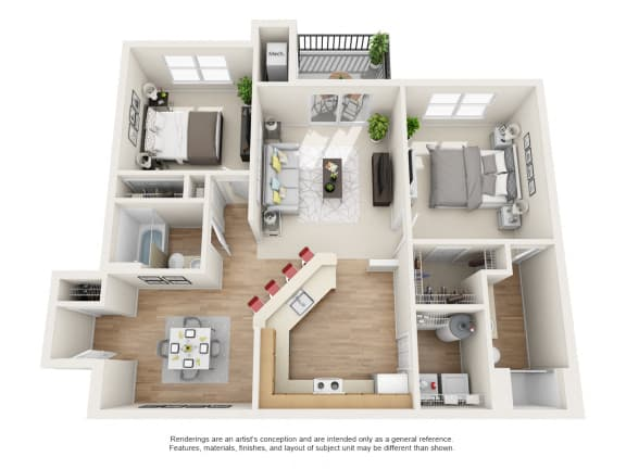 Bradford Floor Plan 2 bed 2 bath Owings Park Apartments