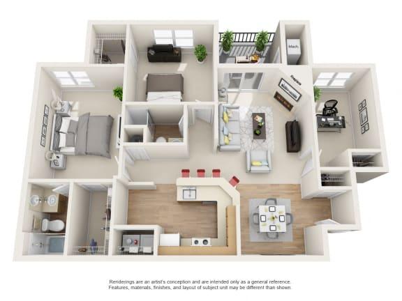 Floor Plan  Laurel Floor Plan 3 bed 2 bath Owings Park Apartments
