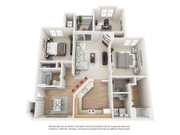 Maple Floor Plan 3 bed 2 bath Owings Park Apartments