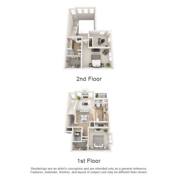 Floor Plan  Oak Floor Plan 3 bed 2 bath Owings Park Apartments