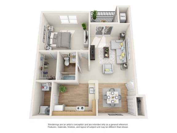 Sycamore Floor Plan 1 bed 1 bath at Owings Park Apartments