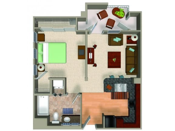 1 Bed - 1 Bath Studio Floor Plan at Carillon Apartment Homes, Woodland Hills, California