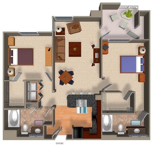 2 Bed - 2 Bath B1 Floor Plan at Carillon Apartment Homes, Woodland Hills, 91367