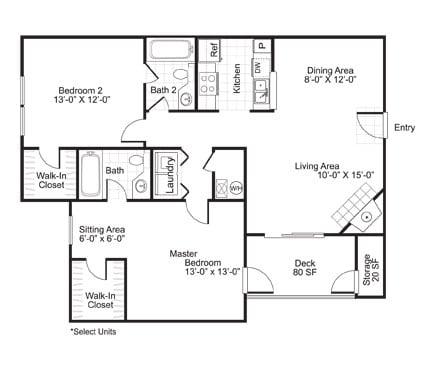 Floor Plan  B2 2 Bed 2 Bath Floor Plan at The Watch on Shem Creek, South Carolina