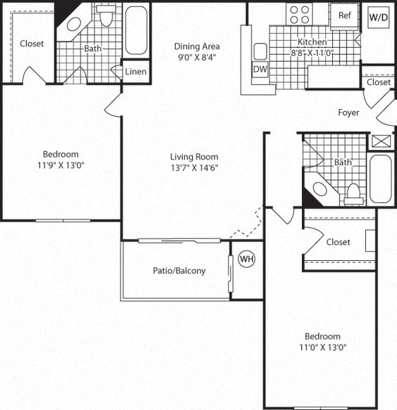 B3B Floor Plan at Westerly at Worldgate, Herndon, 20170