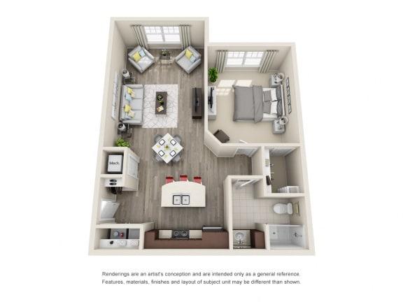 Floor Plan  A2 Unit 1BR Floor Plan for Vintage Blackman Apartments in Murfeesboro, Tennessee